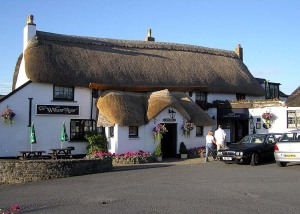 thatched roofed pub